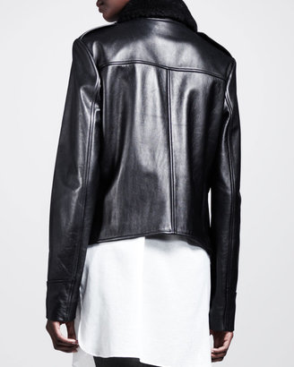 Alexander Wang Grizzly Shearling-Front Moto Jacket