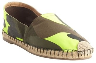 Valentino green camo canvas espadrille loafers