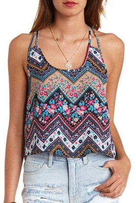 Charlotte Russe Floral Chevron T-Back Swing Crop Top