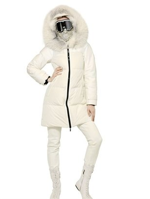 Moncler Gamme Rouge Silver Fox Fur Techno Down Jacket