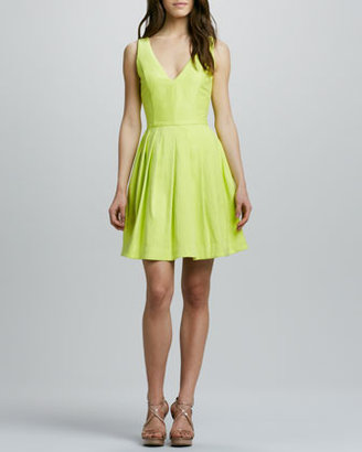 Halston V-Neck Full-Skirt Dress