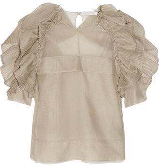 Chloé Plissé-ruffled silk-blend organza top