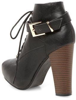 Dorothy Perkins Black lace up block heel boots
