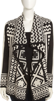 Neiman Marcus Geometric Cascading Cardigan