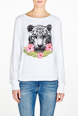 Wildfox Couture Tropical Tiger Vintage Varsity Baggy Beach Jumper
