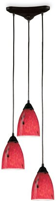 Bed Bath & Beyond Fire Red Hand-Blown Glass Three-Pendant Light Set
