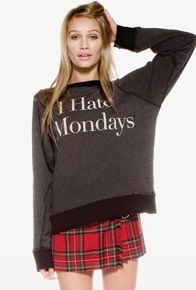 Wildfox Couture I Hate Mondays Destroyed Sweater in Clean Black