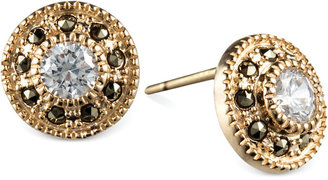 Judith Jack 14k Gold-Plated Marcasite and Cubic Zirconia Button Post Earrings