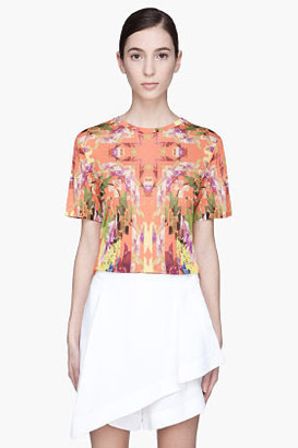 Matthew Williamson Peach multicolor floral facet T-Shirt
