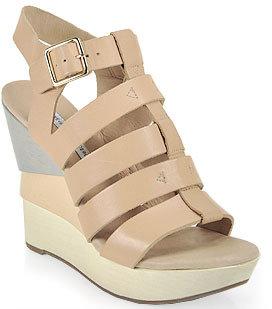 Diane von Furstenberg Oceana - Color-Blocked Wedge Sandal in Nude Leather