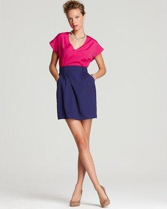 Aqua Dress - V Neck Color Block