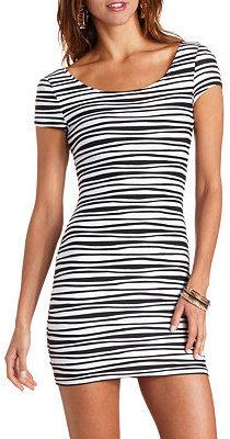 Charlotte Russe Wavy Pin-Tuck Bodycon Dress
