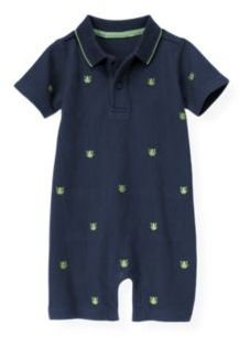 Janie and Jack Embroidered Frog Polo One-Piece