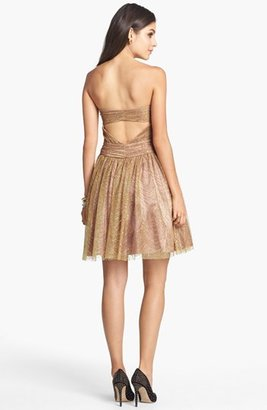 Adrianna Papell Metallic Mesh Fit & Flare Dress