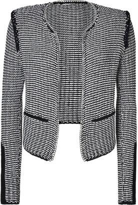 Maje Buttonless Cotton Cardigan Jacket in Black