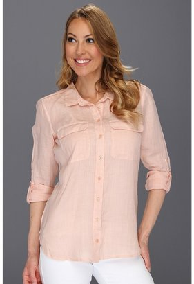 Calvin Klein Jeans Casual Buttonfront Top (Pink Shell) - Apparel