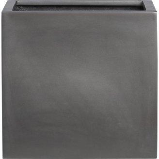 "Crate & Barrel Grey Fiberstone 13.5""sq. Planter"