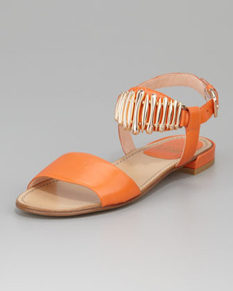 Stuart Weitzman Bars Ankle Horn Flat Sandal, Orange