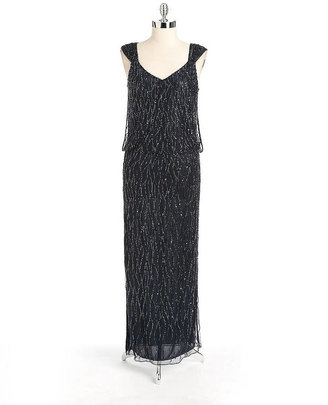 J Kara Beaded Blouson Gown