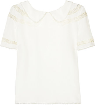 Rochas Lace-trimmed silk top