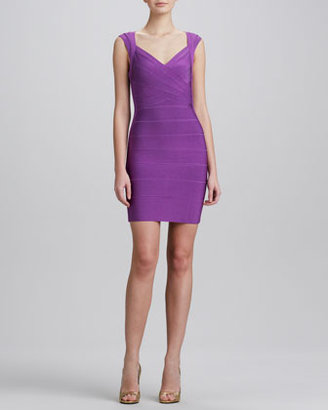 Herve Leger Crisscross Open-Back Bandage Dress, Bright Violet