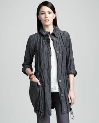 Eileen Fisher Crinkled Long Jacket