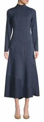 Ganni Asymmetric Stripe Long-Sleeve Dress