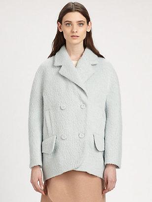 Carven Hairy Drap Stretch-Wool & Angora Coat