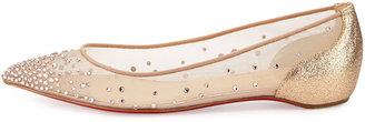 Christian Louboutin Body Strass Pointed-Toe Ballerina Flat, Poudre