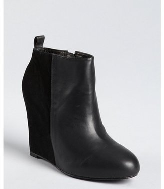 Pour La Victoire black leather and suede 'Gianni' wedge ankle booties