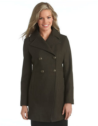 DKNY Double Breasted Military Wool Coat