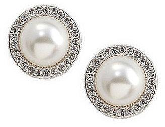 Nadri Pearl Pave Frame Faux-Pearl Stud Earrings