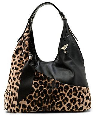 Diane von Furstenberg Wrap Leopard Haircalf Bag In Leopard/black