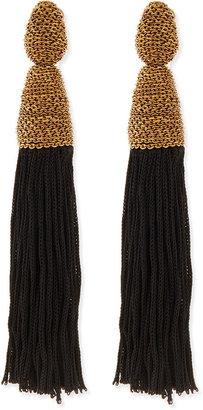 Oscar de la Renta Black Silk Tassel Earrings