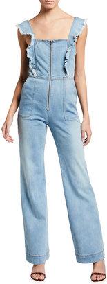 Alice + Olivia Jeans Gorgeous Open-Back Denim Jumpsuit