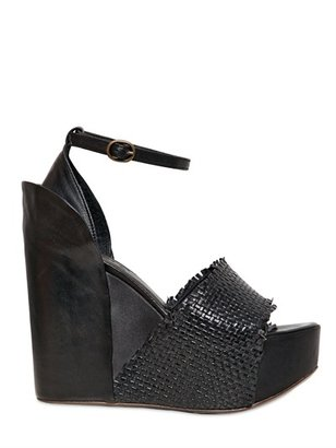 Bruno Bordese 120mm Calfskin & Satin Woven Wedges