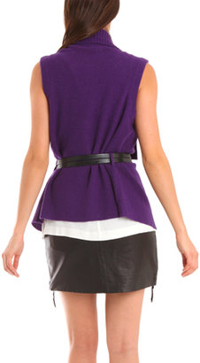 Charlotte Ronson Belted Sweater Vest in Purple