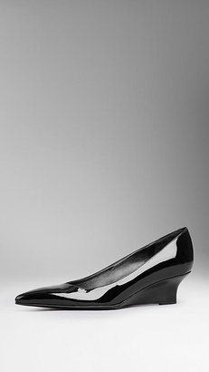Burberry Patent Leather Kitten Wedges