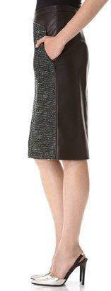 J. Mendel Leather & Tweed Pencil Skirt