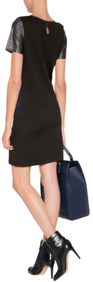 Vanessa Bruno Mixed-Media Leather Detailed Dress in Black/Navy