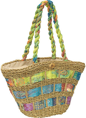 Capelli of New York Straw Handbag With Assorted Fabric