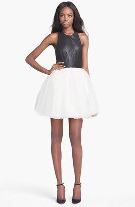 Alice + Olivia 'Ginnifer' Leather Bodice Party Dress