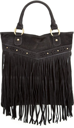 Faux Suede Fringe Tote Bag