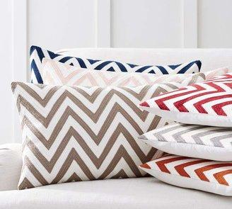 Pottery Barn Chevron Crewel Embroidered Lumbar Pillow Covers