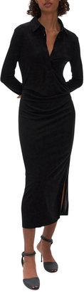 Helmut Lang Long-Sleeve Gathered Shirt Dress