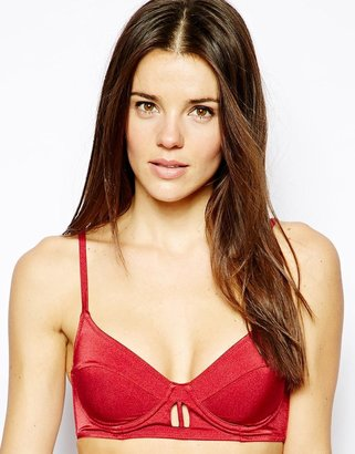 Asos Underwire Cut Out Longline Bikini Top - Red