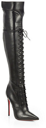 Christian Louboutin Mado Leather Lace-Up Over-The-Knee Boots