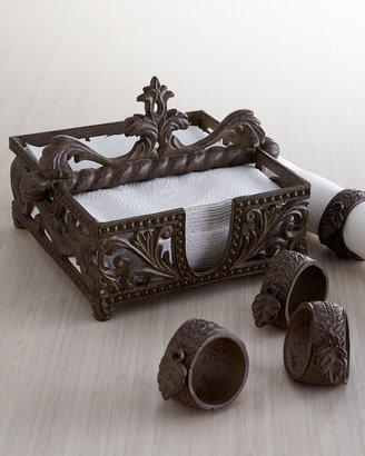 Horchow Napkin Holder and Four Napkin Rings