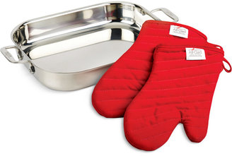 All-Clad Stainless Steel Lasagna Pan and Oven Mitts