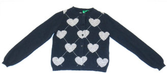 Benetton Baby Girls 12-24 Months Navy Heart-Print Argyle Sweater